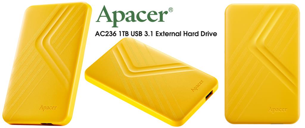 Apacer AC236 1TB USB 3.1 External Hard Drive - Yellow
