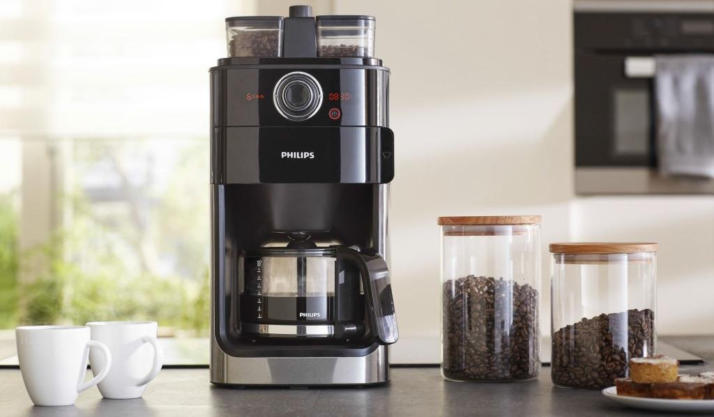 Tea & Coffee Makers - Philips Grind & Brew Coffee maker HD7762/00 With glass jug Integrated ...