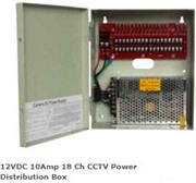 Casey 12VDC 10Amp 18 Ch CCTV Power Distribution Box Retail Box Features• Power up to 18 CCTV surveillance cameras• 12 Volts DC• 10 Amp total output• Max output current up to 1.1 Amp/Channel• 18 individually PTC auto-rese
