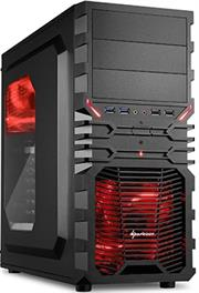 Sharkoon VG4-W Midi Tower PC Gaming Case Red with 
