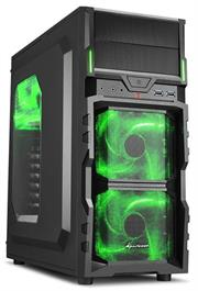 Sharkoon VG5-W Midi Tower PC Gaming Case Green with 