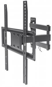 """Manhattan Universal Basic LCD Full-Motion Wall Mount  - Holds One 32"""" to 55"""" Flat-Panel or Curved TV up to 35 kg (77 lbs.), Adjustment  Options to Tilt, Swivel and Level - Black, Retail Box , 1 year Limited Warranty"""
