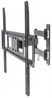"""Manhattan Universal Basic LCD Full-Motion Wall Mount  - Holds One 37"""" to 70"""" Flat-Panel or Curved TV up to 35 kg (77 lbs.); Adjustment  Options to Tilt, Swivel and Level; Black, Retail Box , 1 year Limited Warranty"""