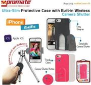 Promate selfieCase-i5 Ultra-Slim Protective case with Built-in Wireless Camera Shutter - Black, Retail Box , 1 Year Warranty