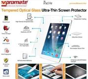 Promate primeShield.Air-Ultra-Thin Tempered Optical Glass Screen Protector for iPad Air, Retail Box, 1 Year Warranty