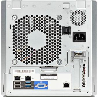 HP ProLiant Gen8 Tower MicroServer - Intel Celeron G1610T (2 core, 2.3 GHz, 2MB, 35W) 3MB L3 Cache, 4GB (1x4GB) UDIMM, NO HARD DRIVE, 1Gb 332i Image