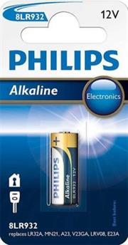 Philips 8LR932/10 Alkaline Battery , Voltage 12V , Capacity: max. 54mAH –Ideal for Electronic keychain radio devices , Keyless vehicle entry systems, Home security systems, Garage door openers, and Bluetooth headsets 1 Per pack Sold as a Box of