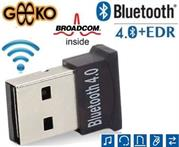 Geeko Ultra-Mini Bluetooth V4.0+EDR USB Class 2 Dongle - Broadcom BCM20702 Chipset , Asynchronous transfer rate of 3Mbps , Up to 10m Wireless range , 2.4Ghz Frequency band , Connect with up to 7 devices at the same time, Dual-mode Bluetooth transfer, Support Bluetooth voice data, Software CD Driver included- Black, Retail Box, 1 year Limit warranty