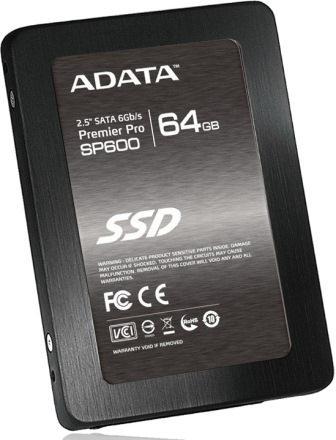 "ADATA Premier Pro SP600 ASP600S3-64GM-C 2.5"" 64GB SATA III MLC Internal Solid State Drive (SSD) Image"