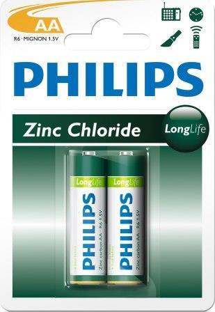 Philips LongLife Battery 2 X R6L2B AA Zinc
