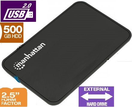 "Manhattan 130042 USB2.0 External Enclosure with 500GB 2.5"" SATA Hard Drive Image"