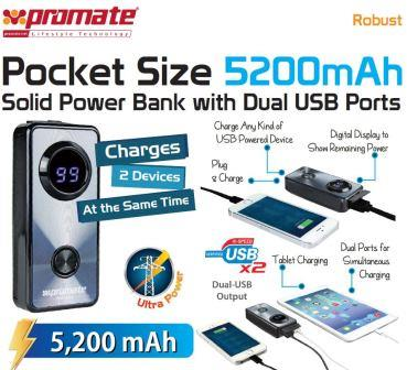 Promate Robust ,Pocket Size 5200mAh Solid Power Bank with