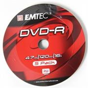 Emtec DVD-R 16X Speed 5pk Non-Printable , , No Warranty  Product OverviewIdeal for general purpose recording and multimedia archiving, a single EMTEC DVD-R has the capacity for thousands of digital photos, up to two hours of high-quality video or you