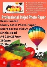 E-Box Resin Coated Glossy Satin Photo Paper- Microporous Heavy Duty Single sided A4 210x297mm-260gsm-20 Sheets per pack, Retail Box   Product OverviewThe E-Box Resin Coated Glossy Satin Photo Paper- Microporous Coated Heavy Duty Single sided A4