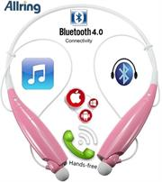 AllRing HBS730 Flexible Bluetooth Ver 4.0 Wireless Hand Free Sports Stereo Headsets Neckband Style Earphones - Pink, Retail Box , 1 year Limited Warranty