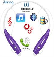 AllRing HBS730 Flexible Bluetooth Ver 4.0 Wireless Hand Free Sports Stereo Headsets Neckband Style Earphones - Purple, Retail Box , 1 year Limited Warranty
