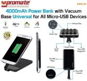 Promate Hitch ,4000mAh Power Bank with Vacuum Base for Micro-USB devices , Retail Box , 1 Year Warranty