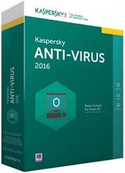 Kaspersky Anti-Virus 2016-3 User DVD, Retail Packaging, No Warranty on Software
