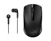 Genius MH-8100 Wireless Mouse and  Wired Earphone Combo - USB Pico receiver - Black, Retail Box , 1 year Limited  warranty