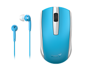 Genius MH-8100 Wireless Mouse and  Wired Earphone Combo - USB Pico receiver - Blue, Retail Box , 1 year Limited  warranty