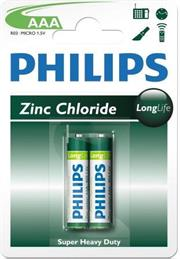 Philips LongLife Battery 2 X R03L2B AAA Zinc