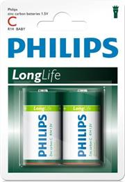 Philips LongLife 2x Type C / R14 Zinc Carbon Battery, 15.V, 3800 mAh -up to 3 years Shelf Life –ideal for use with basic radios, alarms, torches, clocks and remote controls-2 Per Pack, Retail Box , No Warranty  Product OverviewThe Philips LongL
