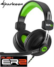 Sharkoon Rush ER2 Circumaural Stereo Headset with Microphone - Green, Retail Box , 1 year Limited Warranty
