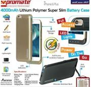 Promate aidCase-i6P 4000mAh Lithium Polymer Super Slim Battery Case - Gold, Retail Box , 1 Year Warranty