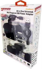 Promate Chargmate.8 All in One Multi-regional USB power adapter with dual usb charging port for Mobile phones,Blackberry,iPad,iPhone,PDA's,MP3/MP4 and a car power chargering socket adapter,LED Indicator,, Retail Box, 1 Year Warranty