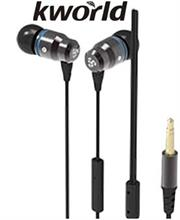 Kworld KW S23 In Ear Elite Mobile Gaming Earphones Stereo Silicone Earbuds with In-line intelligent Control Microphone , 9mm Driver Unit , Sensitivity: 100:3 dB/mW , 1.2 metre Soft TPE Flat Cable , 4 Pin 3.5mm Gold Plated Jack  Black, Retail Box , 1 year Limited Warranty