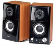 "price of Genius HF500A Stereo 2.0 Channel Two way Hi Fi Wood Speaker System - Total Output Power 14 watts (RMS) , Combined 3.0"" Speaker Driver 4 Ohm Inlaid Tweeter, Large Volume/Power control , Tone button for timbre adjustment , Line-in and Headphone jack , Frequency Response 100 - 20000 Hz , Signal to Noise ratio: 82dB- Burnished Black and Brown Wood, Retail Box , 1 year Limited Warranty  on ShopHub 