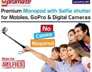 Promate monoPro-BT Premium Monopod with Selfie shutter for Mobiles, GoPro & Digital Cameras, Retail Box , 1 Year Warranty