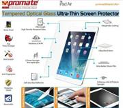 Promate Primeshield.AIR Premium Ultra-Thin Tempered Optical Glass Screen Protector for iPad Air, Retail Box, 1 Year Warranty
