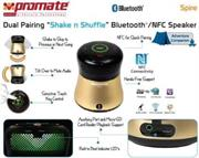 "price of Promate Spire Dual Pairing ""Shake n Shuffle"" Bluetooth®/NFC Speaker - Gold, Retail Box, 1 Year Warranty on ShopHub 