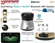 "price of Promate Spire Dual Pairing ""Shake n Shuffle"" Bluetooth®/NFC Speaker - Silver, Retail Box, 1 Year Warranty on ShopHub 